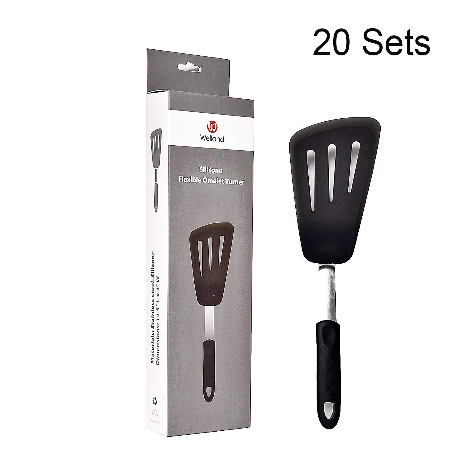 WELLAND Clearance Sale !!! Silicone & Stainless Steel Omelet Spatula Turner 600°F Heat-Resistant Flexible long Turner, 20 Sets
