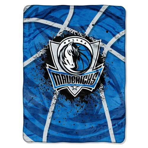 Northwest 803 NBA Dallas Mavericks Shadow Play Plush Raschel Blanket, Blue, 60 x 80-Inch