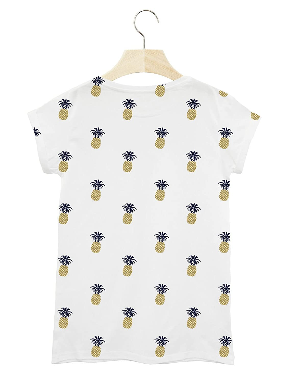 BATCH1 PINEAPPLE REPEAT FASHION PRINT BRITISH SUMMER HOLIDAY WOMENS T-SHIRT