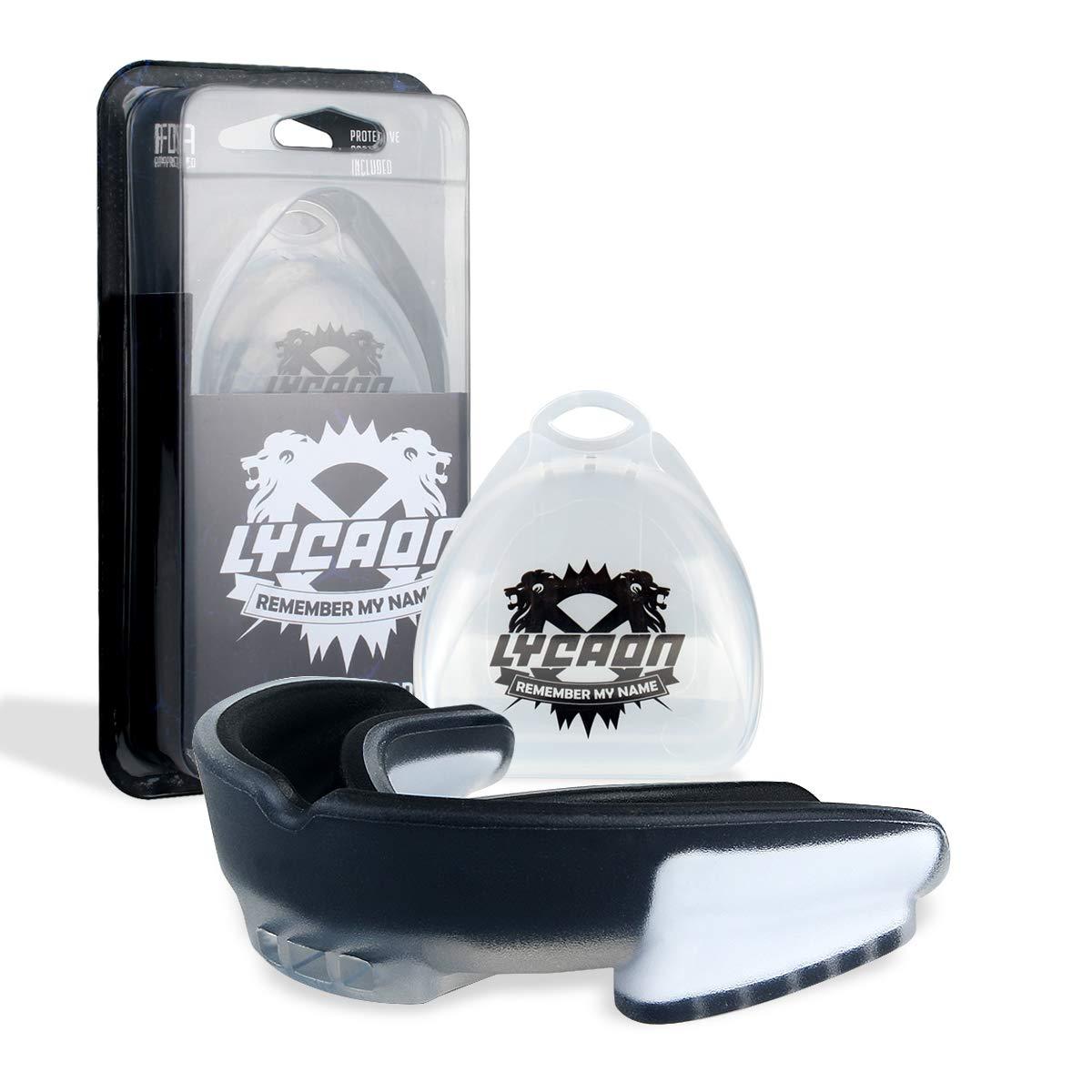 LYCAON Protector de Boca para Adultos, protecció n Deportiva Profesional Protector para Dientes de Boxeo de fú tbol Lacrosse Herramienta de Atleta de Aparato Dental de Hockey Sobre Hielo (Black&Red)
