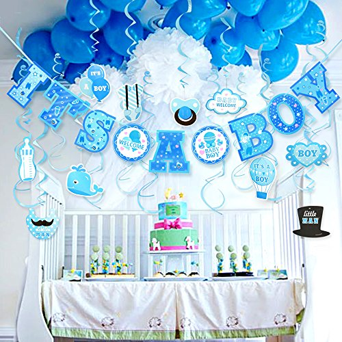 Cute Blue Theme Hanging Baby Shower Decorations Its A Boy
