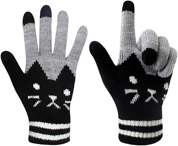 MENS BLACK TOUCH SCREEN GLOVES BOYS MAGIC KNITTED WARM WINTER SMART PHONE MITTEN