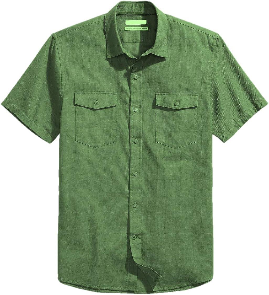 Brand Goodthreads Mens Standard-Fit Short-Sleeve Large-Scale Plaid Shirt