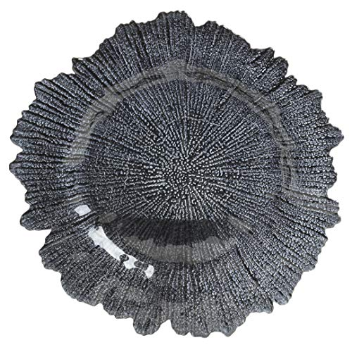(Koyal Wholesale Bulk Flora Glass Charger Plates, Set of 4, Navy Blue, Starburst Charger Plates, Reef Charger Plates)
