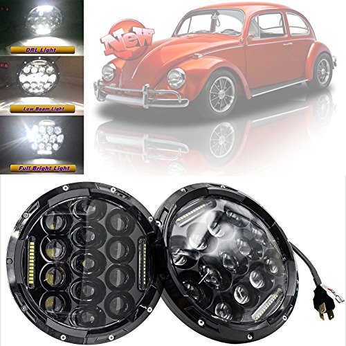 For VW Beetle Classic LED Round Driving Headlights H6024 7'' Hi/Lo Beam Kit H4 H13 Plugs