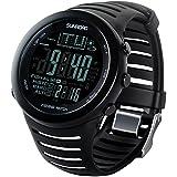 BEETEST Multifunción Digital 50 m pesca impermeable meteorológico barómetro altímetro termómetro inteligente Smartwatch reloj de pulsera con luz de fondo