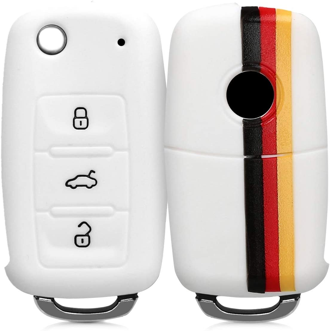 kwmobile Car Key Cover Compatible with VW Skoda SEAT 3 Button Car Key Germany Black//Yellow//White Silicone Protective Key Fob Cover