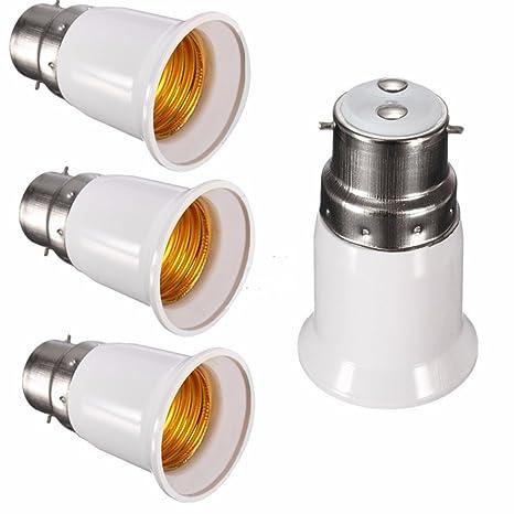 [4 unidades] adaptador convertidor de bombilla, apto para bombillas LED y lámpara fluorescente compacta, casquillo convertidor para lámpara B22 to E27