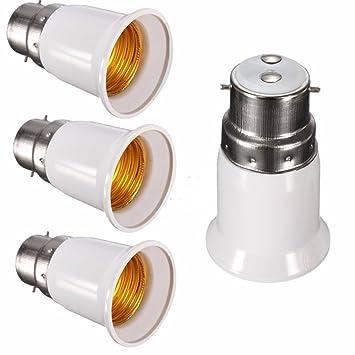 [4 unidades] adaptador convertidor de bombilla, apto para bombillas LED y lámpara fluorescente compacta, casquillo convertidor para lámpara B22 to E27: ...