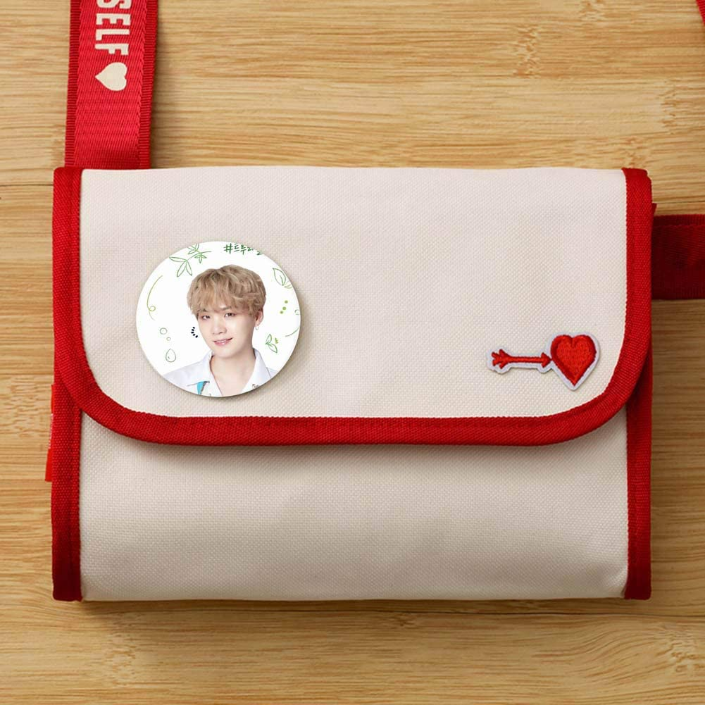 AMA-StarUK36 Kpop Cute Character Buttons Badges BTS Love Yourself Map of The Soul 7 Tinplate Buttons Badges//Pin Clothes Bag Decoration 2.3inch H03
