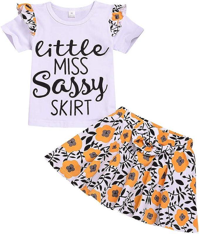 niño pequeño bebé niña Letra Impresa Camiseta Top + Floral Arco ...