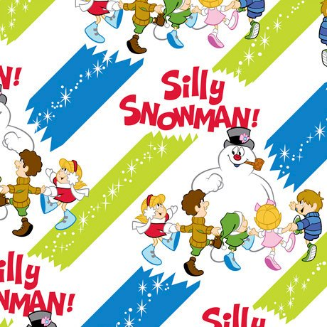 Christmas Silly Snowman Frosty the Snowman Stripe Fabric Sold by the Yard ()