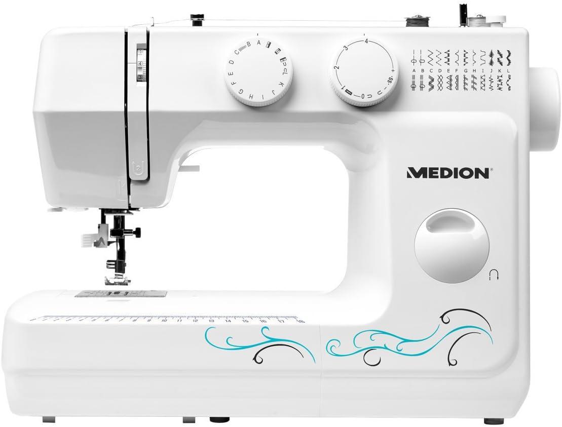 MEDION MD 18205 - Máquina de coser de brazo, potencia de 62 W, 60 patrones, cose, ojal y enhebra, luz de costura LED, botón de retroceso, amplia gama de accesorios, Blanco
