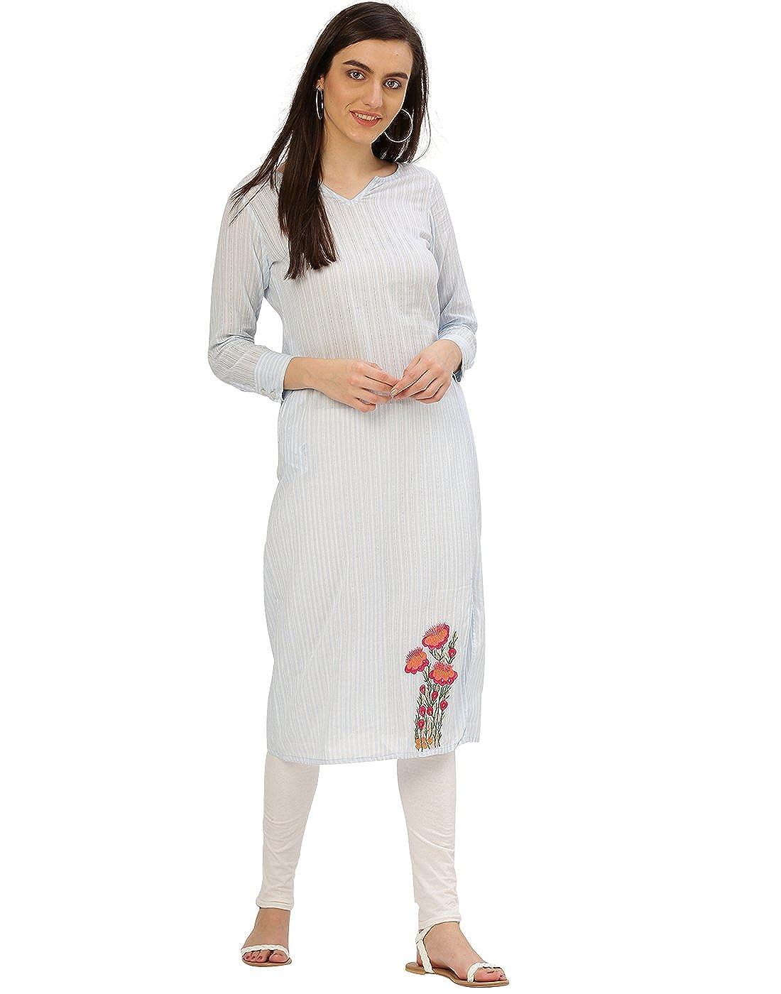 Jaipur Kurti Women Casual Top Tunic Summer Embroidered Handloom Dress (Light bluee)
