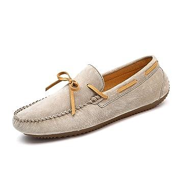 Jiuyue-shoes Mocasines de Plataforma de Suela Plana para Hombre de Cuero Informal Helados con Mocasines de Barco Respirables (Color : Caqui, ...