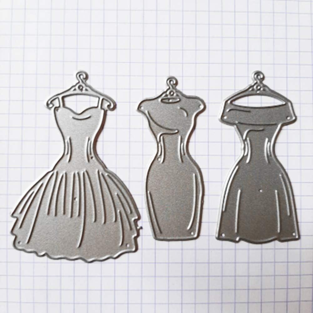 D/écoration pour Cartes Photo Papier Bricolage Artisanat Cadeau Silver Scrapbooking M/étal Pochoirs Gaufrage Lai-LYQ Robe Femme Matrices de D/écoupe