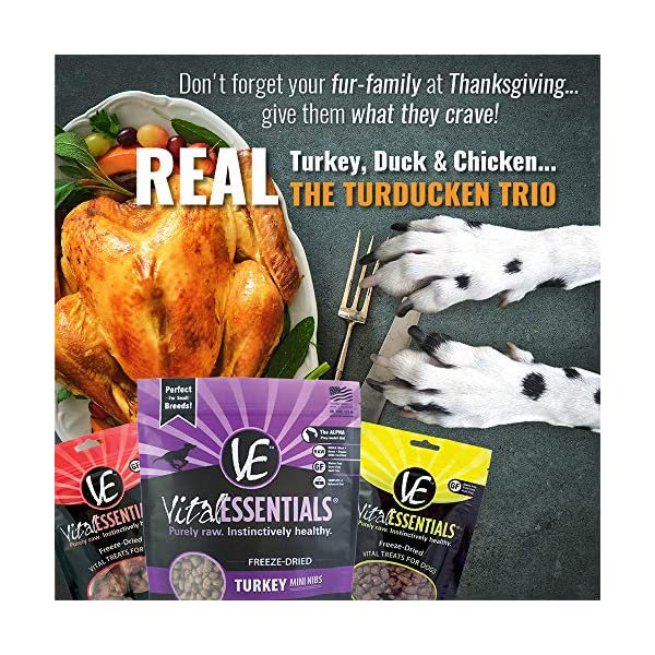 Vital Cat Freeze-Dried Grain Free Turducken 3 Pack: Turkey Entrée (12 oz.), Duck Liver Treats (.9 oz) , and Chicken Hearts Treats (.8 oz) 5