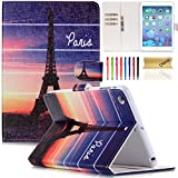 iPad Mini Case, Mini 2/3 Cover, Dteck(TM) Gorgeous Flower Design Flip Leather Stand Case with Card Holders & Cash Slot Magnet Cover for Apple iPad Mini 3/2/1 (Dusk Paris)