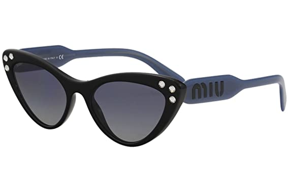 9aba69ee1456 Miu Miu Women's Crystals Cat Eye Sunglasses, Black/Blue Mirror, One Size