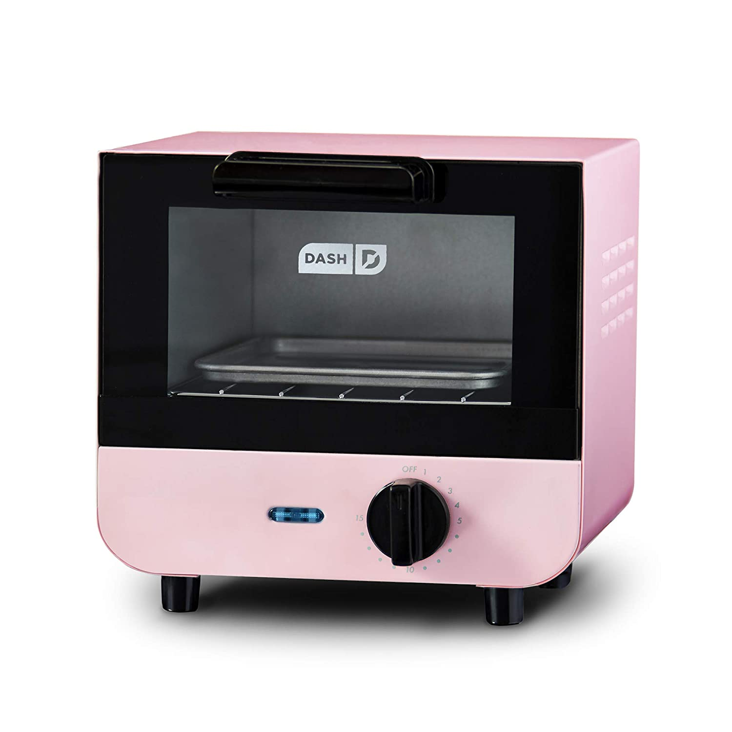 DASH DMTO100GBPK04 Mini Toaster Oven Cooker for Bread, Bagels, Cookies, Pizza, Paninis & More with Baking Tray, Rack + Auto Shut Off Feature Pink