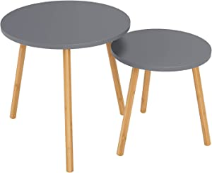 HOMFA Nesting Coffee End Tables Modern Furniture Decor Round Side Table for Living Room Balcony Home and Office (Gray, Set of 2)
