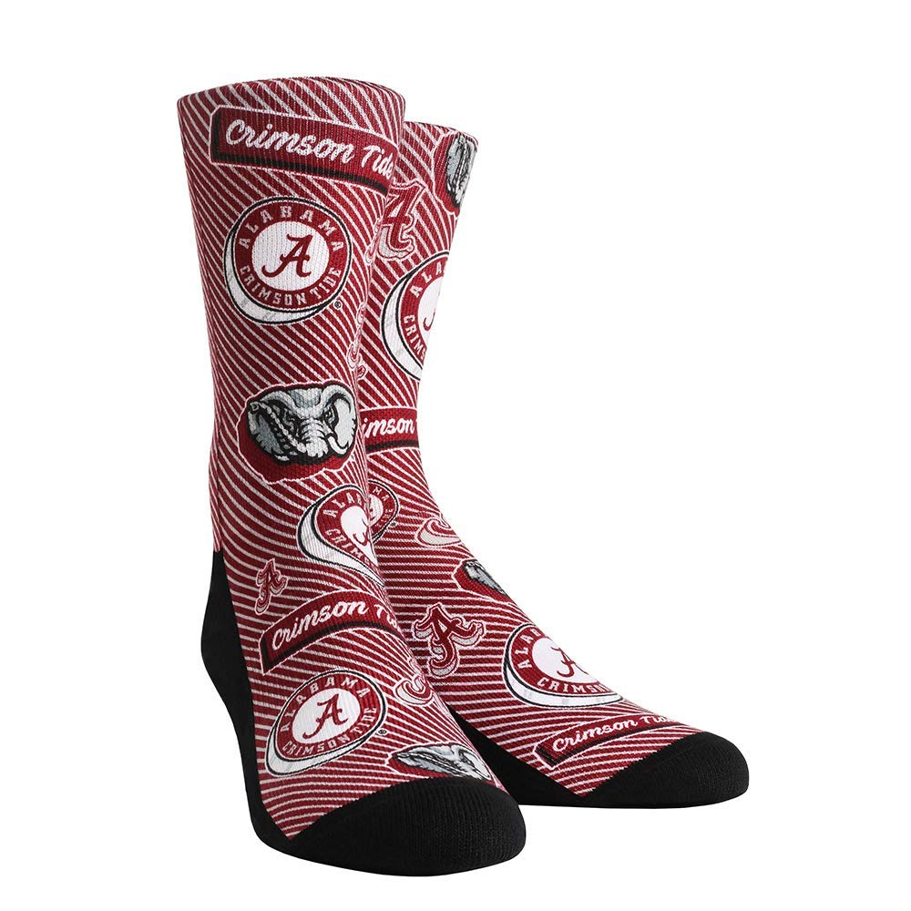 Rock 'Em Socks NCAA Super Premium College Fan (S/M, Alabama Crimson Tide - Logo Statement)