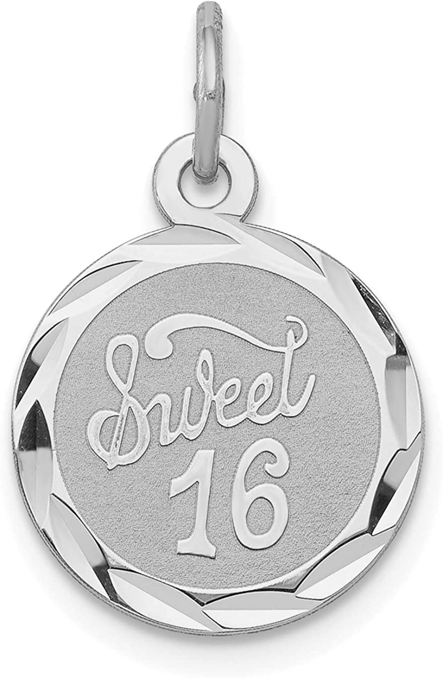 Sweet 16 Words On Round Disc Charm In 925 Sterling Silver 20x13mm