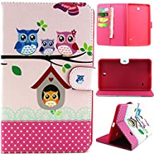 Galaxy Tab4 7.0 inch,T230 Case, Gift_Source PU Leather Flip Holder Protective Case Magnet Design Flip Wallet Case Samsung Galaxy Tab 4 7.0 SM-T230NU 7-Inch Tablet (Owl Family) +1 X Screen Protector and Stylus Pen