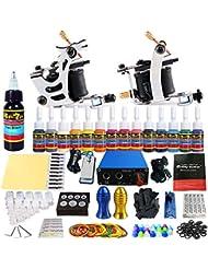 Solong Complete Starter Beginner Tattoo Kit 2 Pro Machine Guns 14 Inks Power Supply Foot Pedal Needles Grips Tips TK213