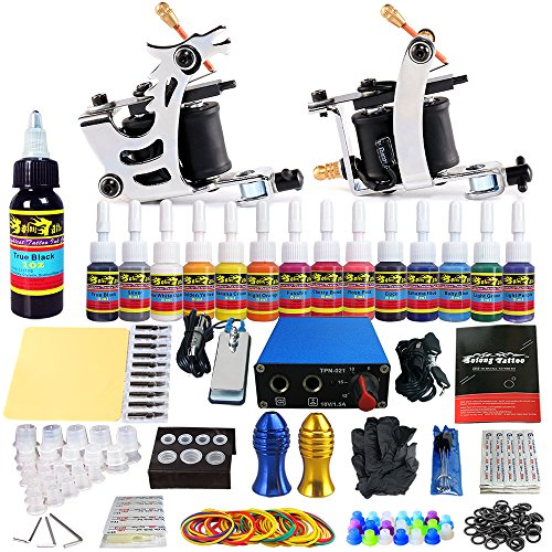 - Solong Complete Starter Beginner Tattoo Kit 2 Pro Machine Guns 14 Inks Power Supply Foot Pedal Needles Grips Tips TK213