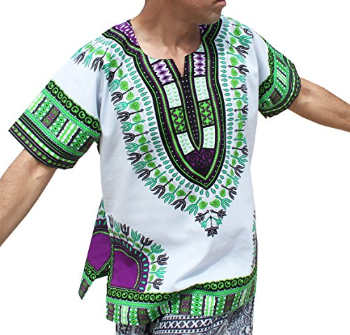 RaanPahMuang Brand Unisex Bright White Cotton Africa Dashiki Shirt Plain Front