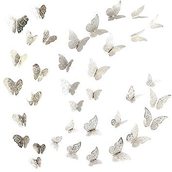 AONER 36 Stk. Wandaufkleber Schmetterling Wandtattoo Wandsticker Wandbild  Wanddeko Für Schlafzimmer Wohnzimmer Wand Aufkleber Deko