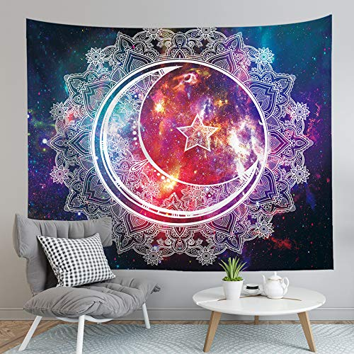 Sylfairy Tapestry Wall Hanging Boho Mandala Tapestry Psychedelic Tapestry Celestial Starry Sky Moon Wall Tapestry Art Home Decoration for Bedroom Living Room Dorm 59