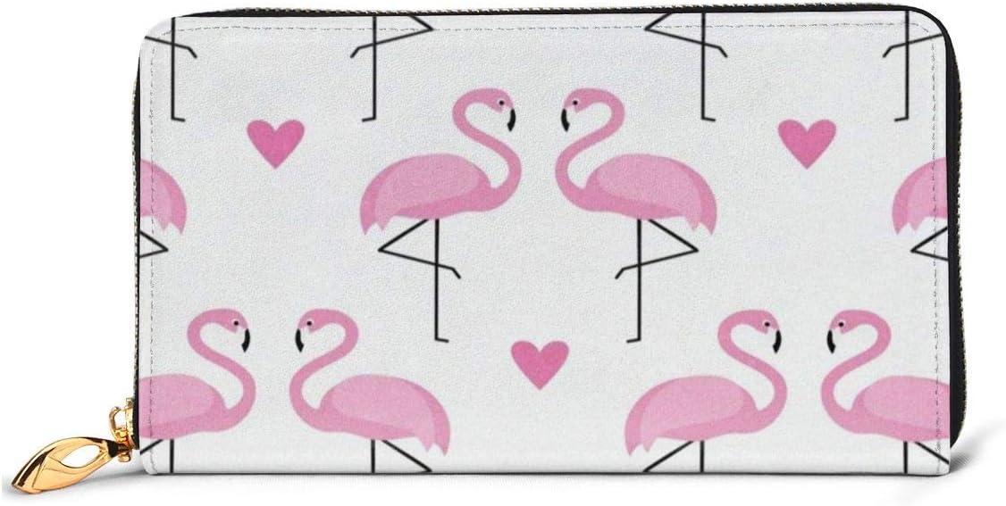 Pink Flamingo Bird Love Heart Womens RFID Blocking Zip Around Wallet Genuine Leather Clutch Long Card Holder Organizer Wallets Large Travel Purse