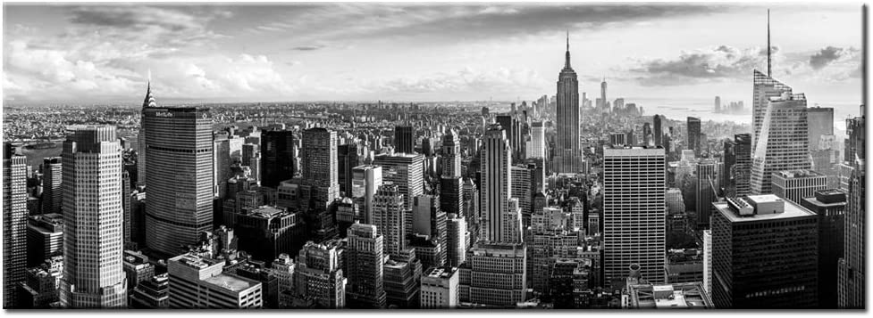 LevvArts New York Canvas Wall Art Black and White City Skyline Picture Panoramic Photo Canvas Print Modern Home Office Living Room Wall Decoration Gallery Wrap Ready to Hang