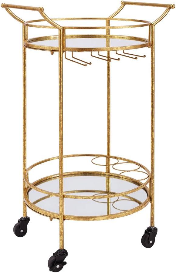 Linon Round Bar Cart, Gold