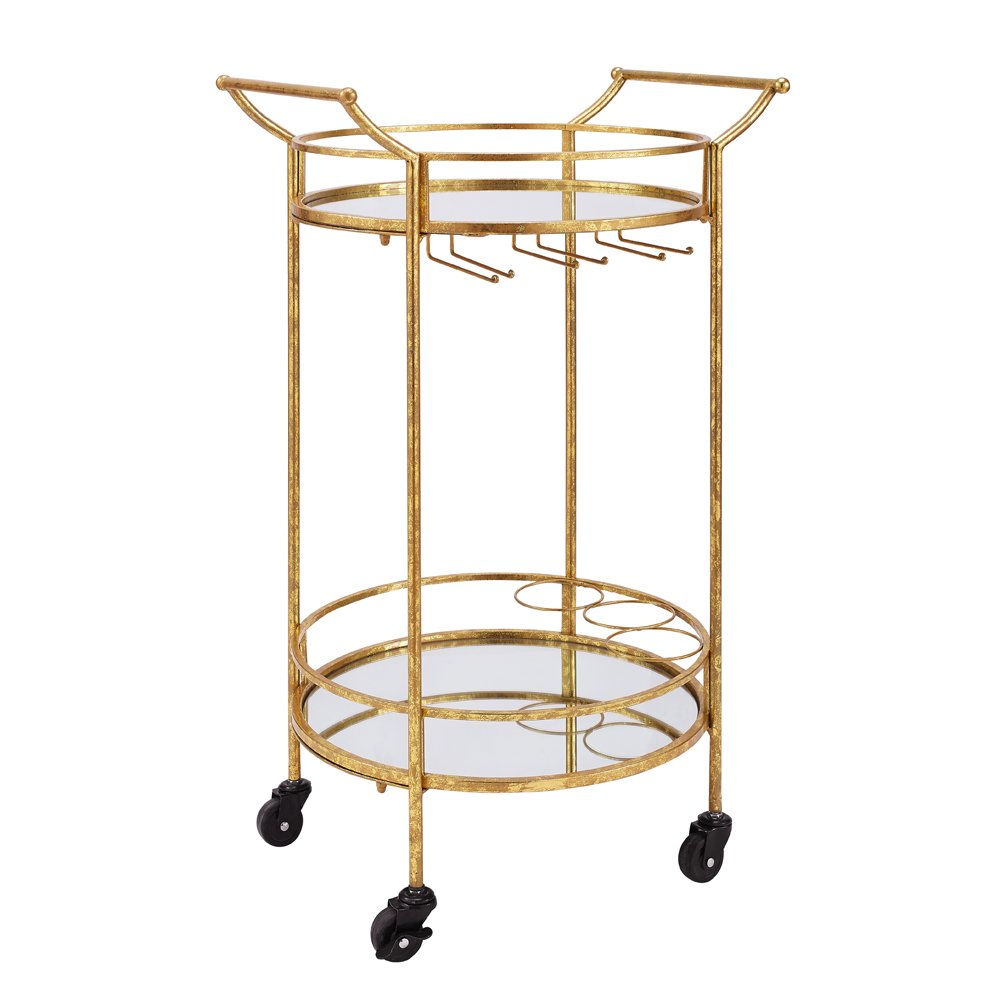 Linon AMZN0342 Teagan Gold Round Metal Bar Cart