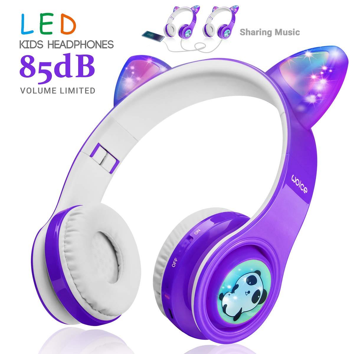 Auriculares Bluetooth Con Orejas Y Luces Led (violeta)