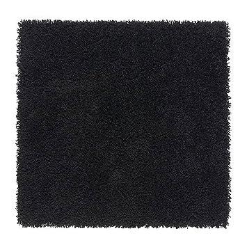 Grüner teppich ikea  Ikea HAMPEN Teppich in schwarz; (80cm x 80cm); Langflor: Amazon.de ...