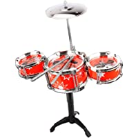 MagiDeal Mini Jazz Band Drum Kits Percussion Instruments Set Children Educational Musical Toy -3 Drums Red #2