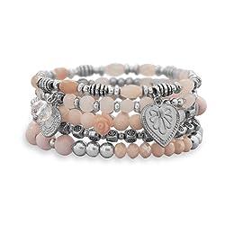 Silver Tone Fashion Stretch Beaded Bracelet Set, Rose Quartz, Agate, Crystals, Floral/Heart Charms