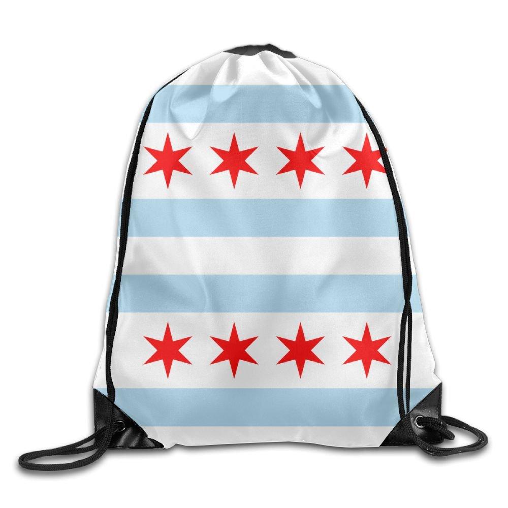 イリノイ州シカゴの国旗ポリエステルドローストリングバッグカジュアル袋バッグ B079D5R238