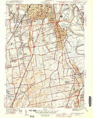 YellowMaps Hartford South CT topo map, 1:31680 Scale, 7.5 X 7.5 Minute, Historical, 1944, 19.7 x 15.5 in - Paper