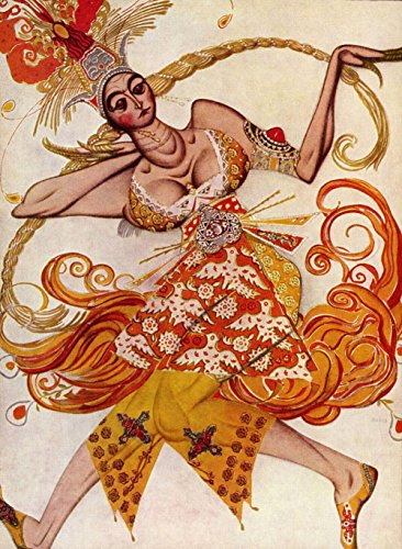 Léon Bakst - The Firebird, Ballet costume, Size 12x16 inch, Gallery wrapped canvas art print wall décor