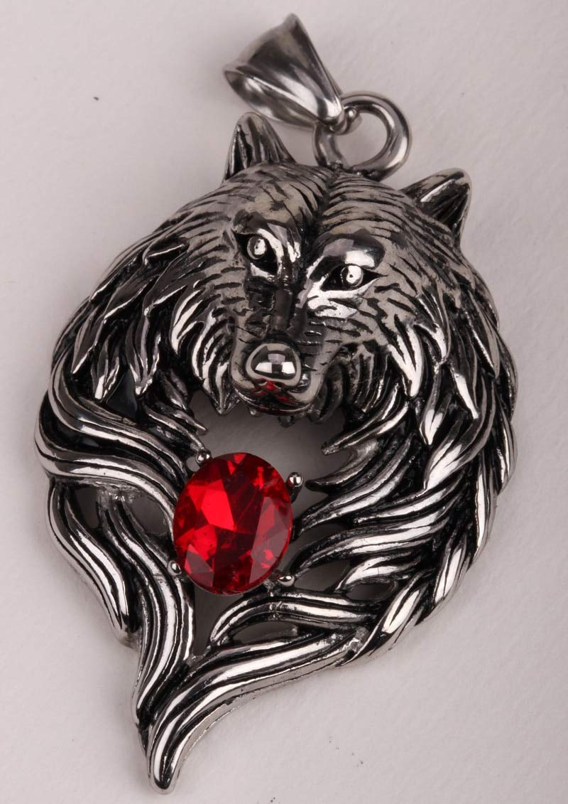 Metal Color: Pendant only Davitu Big Wolf Stainless Steel Men Necklace 316L Pendant W Chain Biker Heavy Jewelry Animal Charm Wholesale GN41