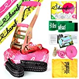Barefoot Slacklines 49ft (15m) Line! Complete Set Including Slackline, Ratchet, Training Line, Bark Protectors & Instructions! 3 Fluro Colours Available (Fluro Pink)