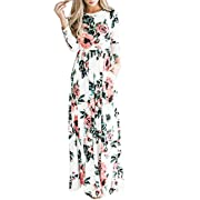 Women's Long Sleeve Casual Stretch Maxi Long Dress Empire Maxi Dress with Pocket White