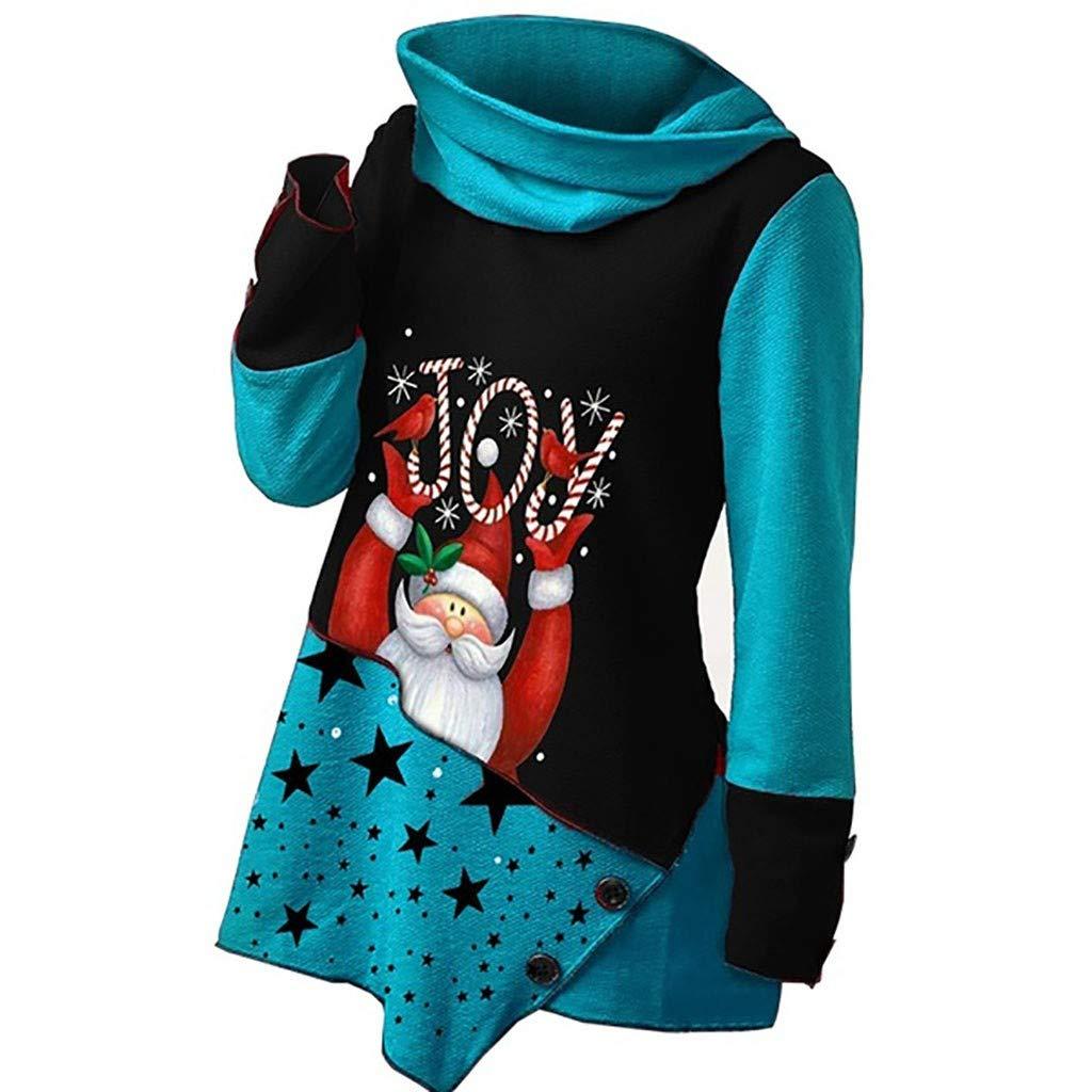 JURTEE Maniche Lunghe Maglie Donna Maglione Vestito Natale Autunno Inverno Lungo Collo Alto Felpe Moda Sottile Sweater