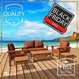 6 Piece Teak Patio Furniture Set – the Luxurious Monaco Model, Outdoor Garden Conversation Collection with Sunbrella Cushions Review