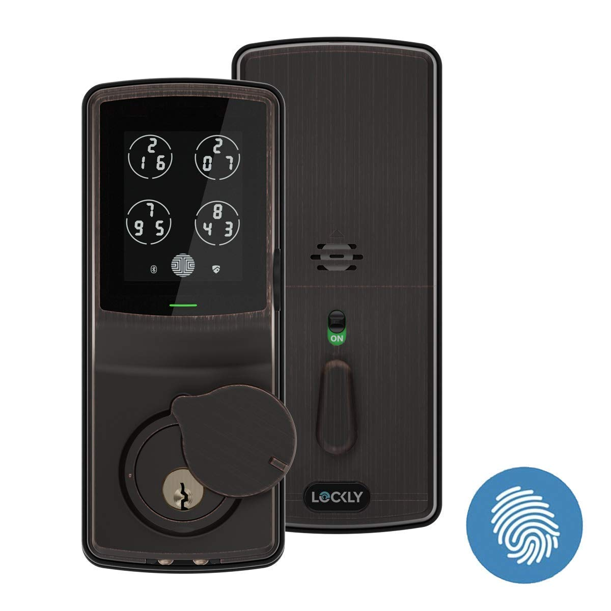 Lockly Bluetooth Keyless Entry Smart Door Lock (PGD 728F) Patented Keypad/Alarm System | Advanced 3D Fingerprint Reader | iOS and Android Compatible (VenetianBronze)